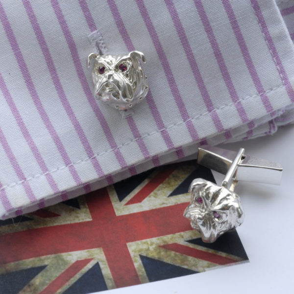 British Bulldog Cufflinks with Rubies SS