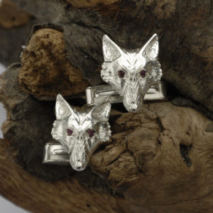 Fox Head Cufflinks with Rubies SS