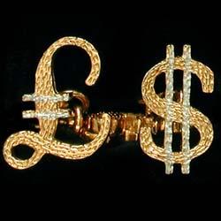 pound and dollar cufflinks GS