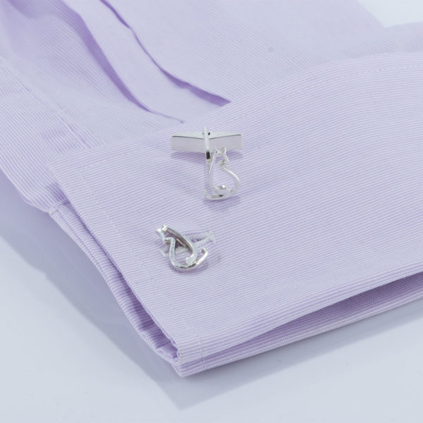 truning cat cufflinks ss