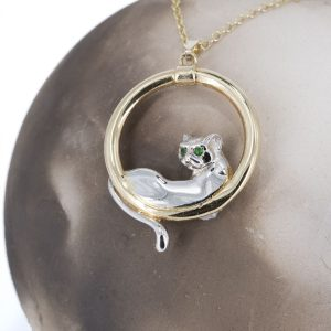 Cat in a circle with emeralds pendant 9ct G