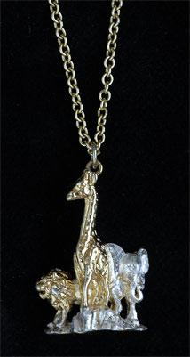 Giraffe lion elephant pendant GS