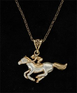 Horse and jockey pendant GS