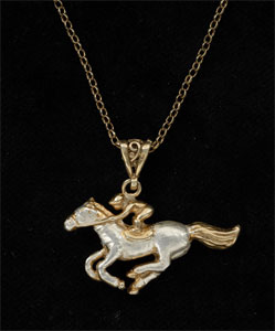 Horse and jockey pendant GS