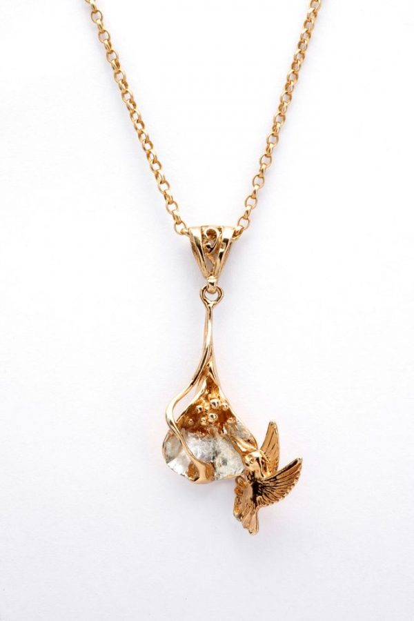 arum lily and hummingbird pendant GS