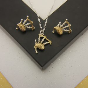 bagpipe pendant and earring set GS