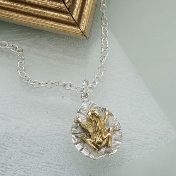 crouching frog on a lilypad pendant GS