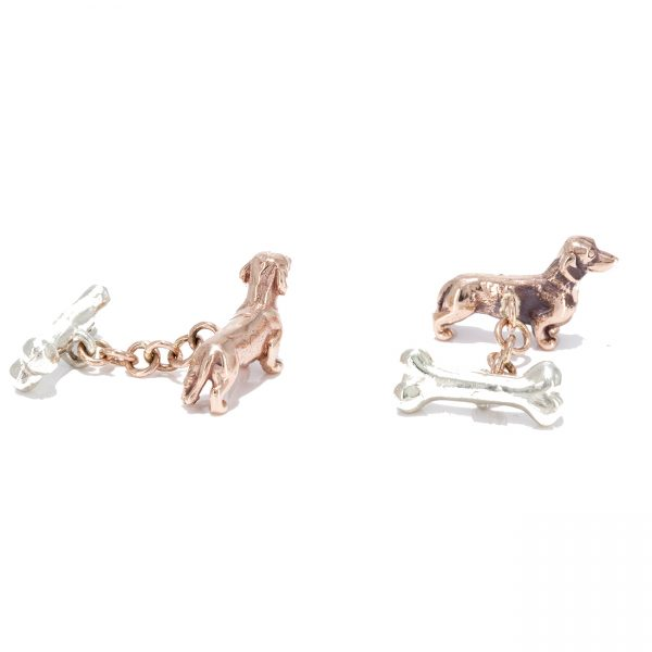 dachshund cufflinks solid rose and white gold 2