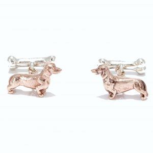 dachshund cufflinks solid rose and white gold 3