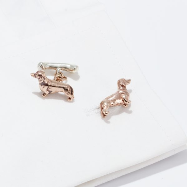 dachshund cufflinks solid rose and white gold