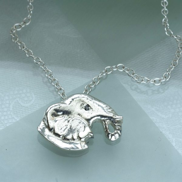 elephant head pendant with balack diamond ss