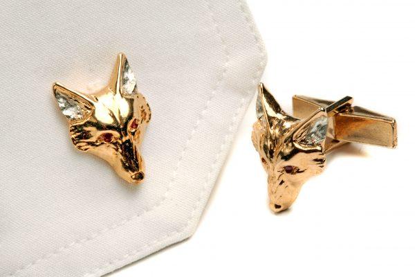 fox head cufflinks with rubies GS 1