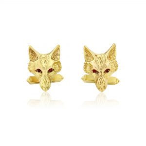 fox head cufflinks with rubies g 3