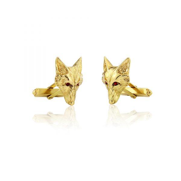 fox head cufflinks with rubies g 4