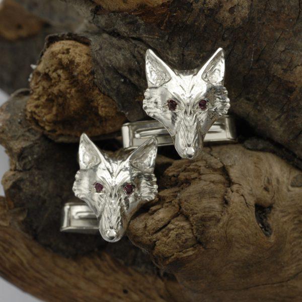 fox head cufflinks with rubies ss