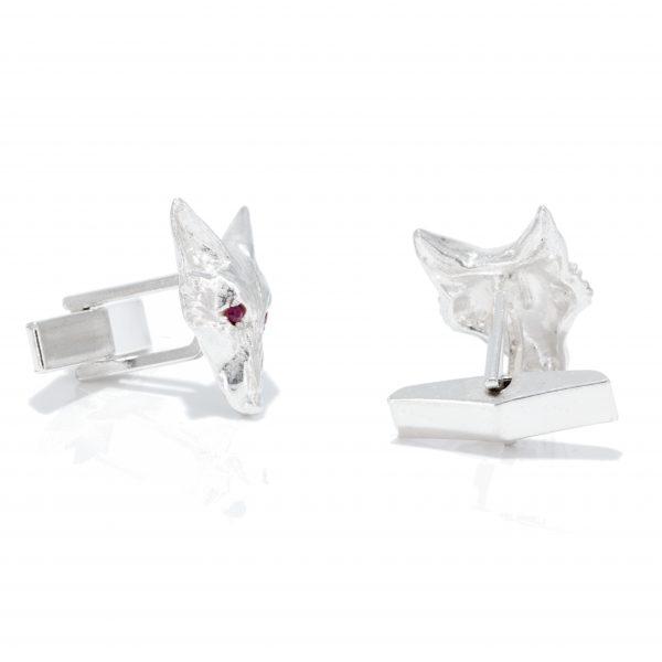 fox head cufflinks with rubies ss 7