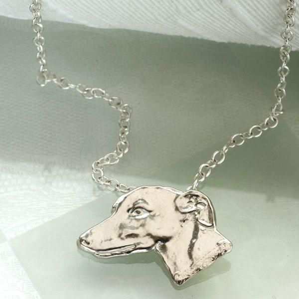 greyhound head pendant ss