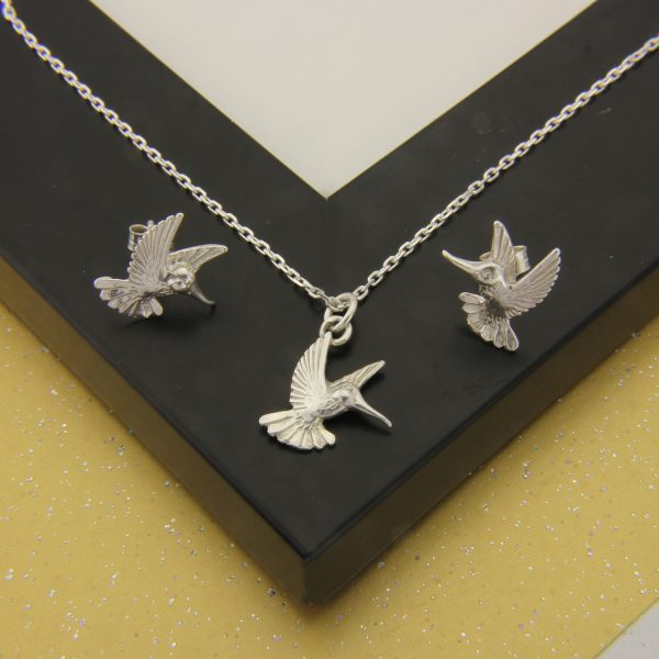 hummingbird pendant and earrings set ss 1