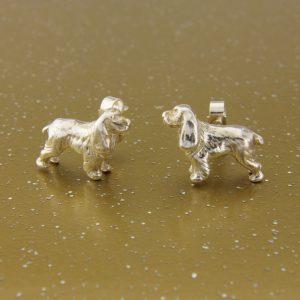 spaniel stud earrings ss