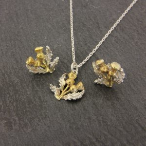 thistle pendant and earrings set GS