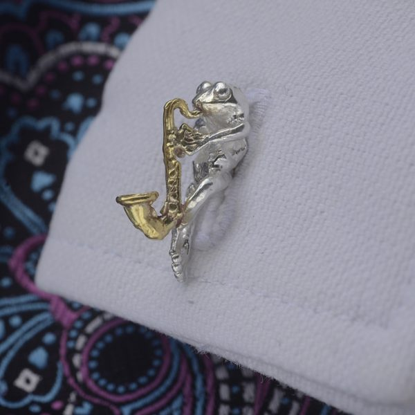 frog with saxophone cufflinks GS