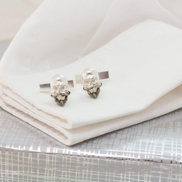skull cufflinks ss and rhodium 2