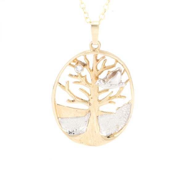 Tree of Life with Diamond in Solid Gold