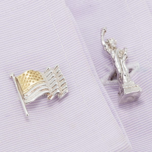 american flag and statue cufflinks GS